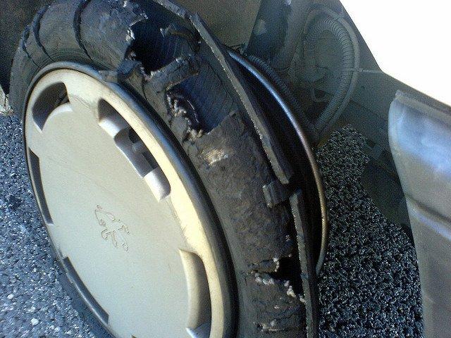 Una rueda realmente destrozada