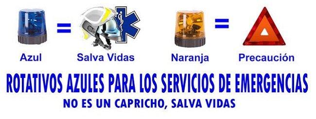 Rotativos azules para vehículos prioritarios de emergencia