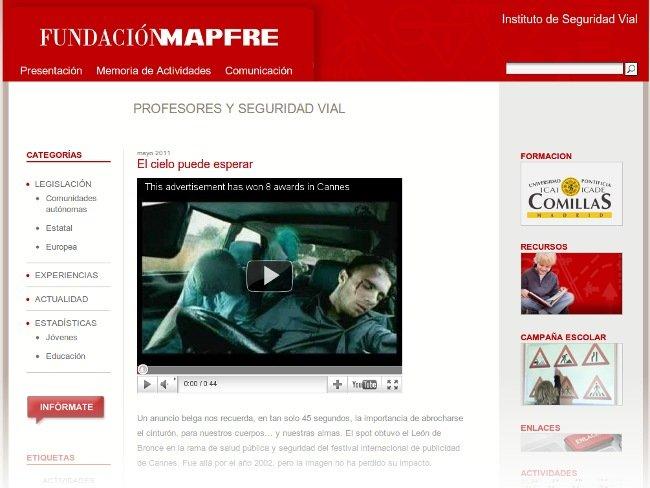 Profesores y Seguridad Vial, nueva web de la FUNDACIÓN MAPFRE