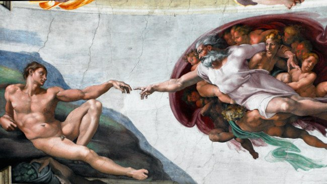 La Creación de Adán, a dedo