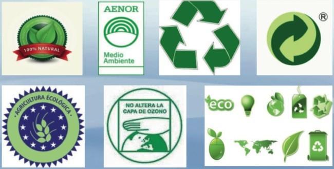 Diversas etiquetas verdes