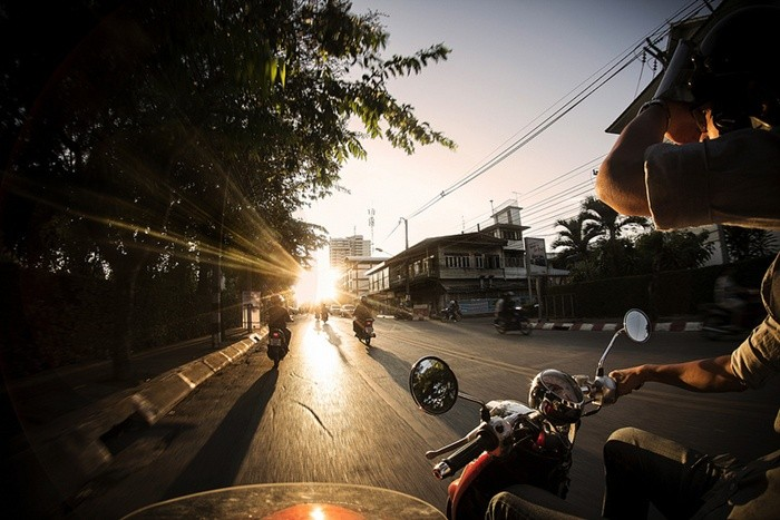 moto en invierno