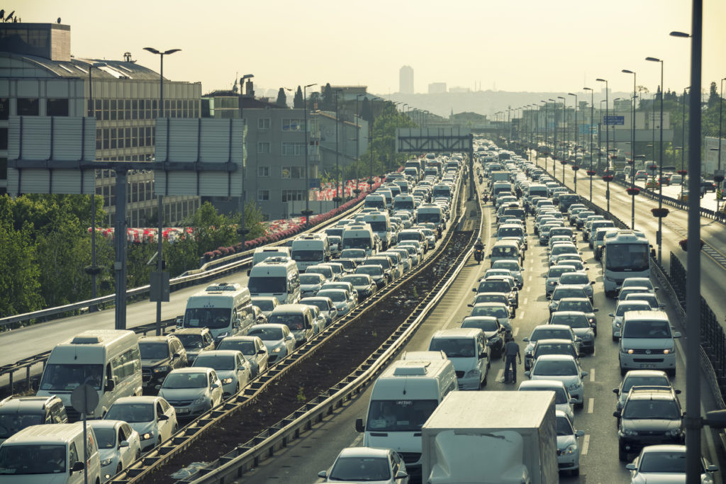 Istanbul, Turkey - May 26, 2015: Heavy traffic jam at the entrance of Mecidiyekoy District, one of the most populated financial districts of Istanbul, Turkey.