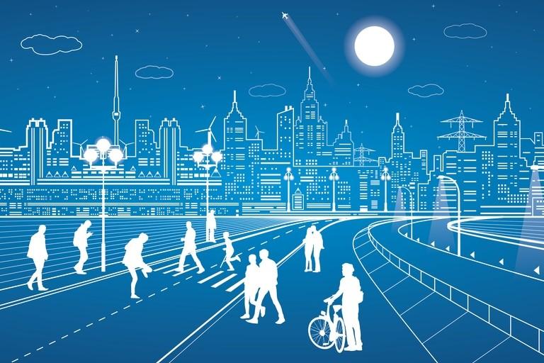 boceto ciudad futuro