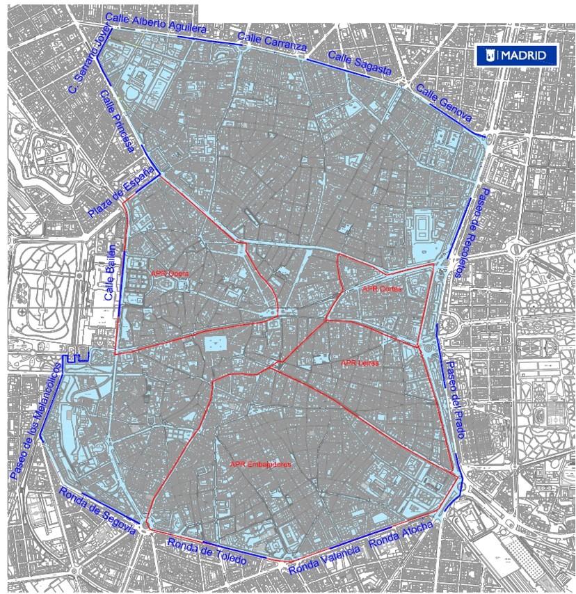 Plano del Área 0 emisiones de Madrid