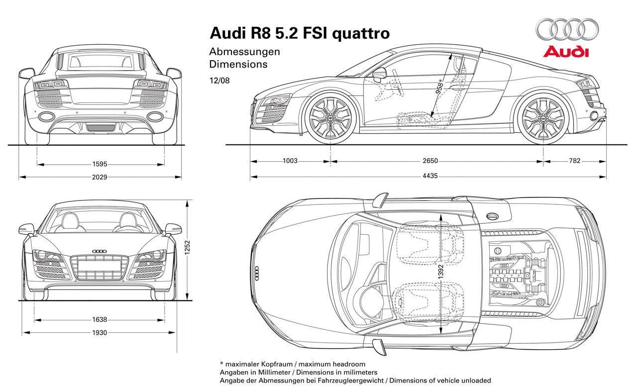 Audi R8 dimensões
