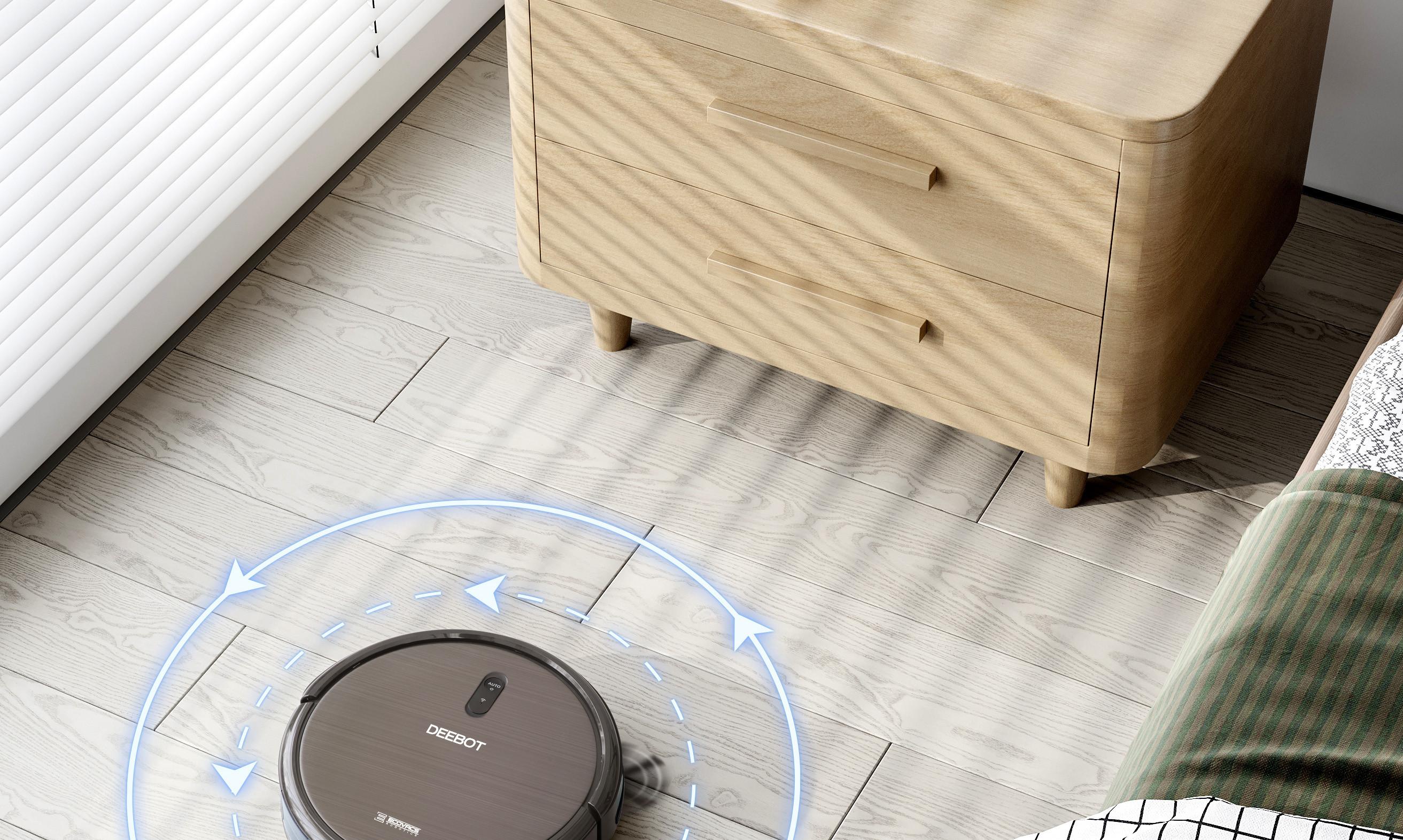 aspirador conectado robot limpiando casa