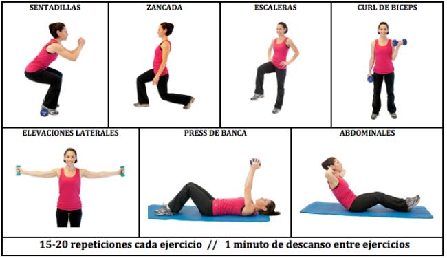 Tablas de ejercicios para hacer en casa: circuito de fuerza