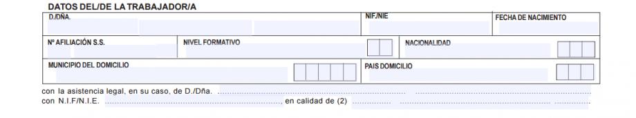 contrato de trabajo datos del trabajador