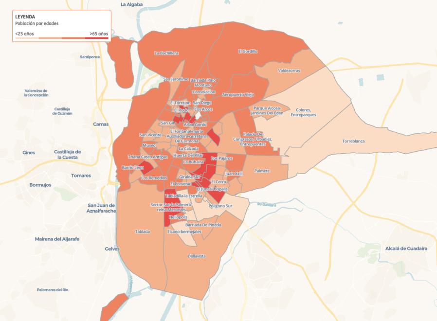 Distribución por edades en Sevilla