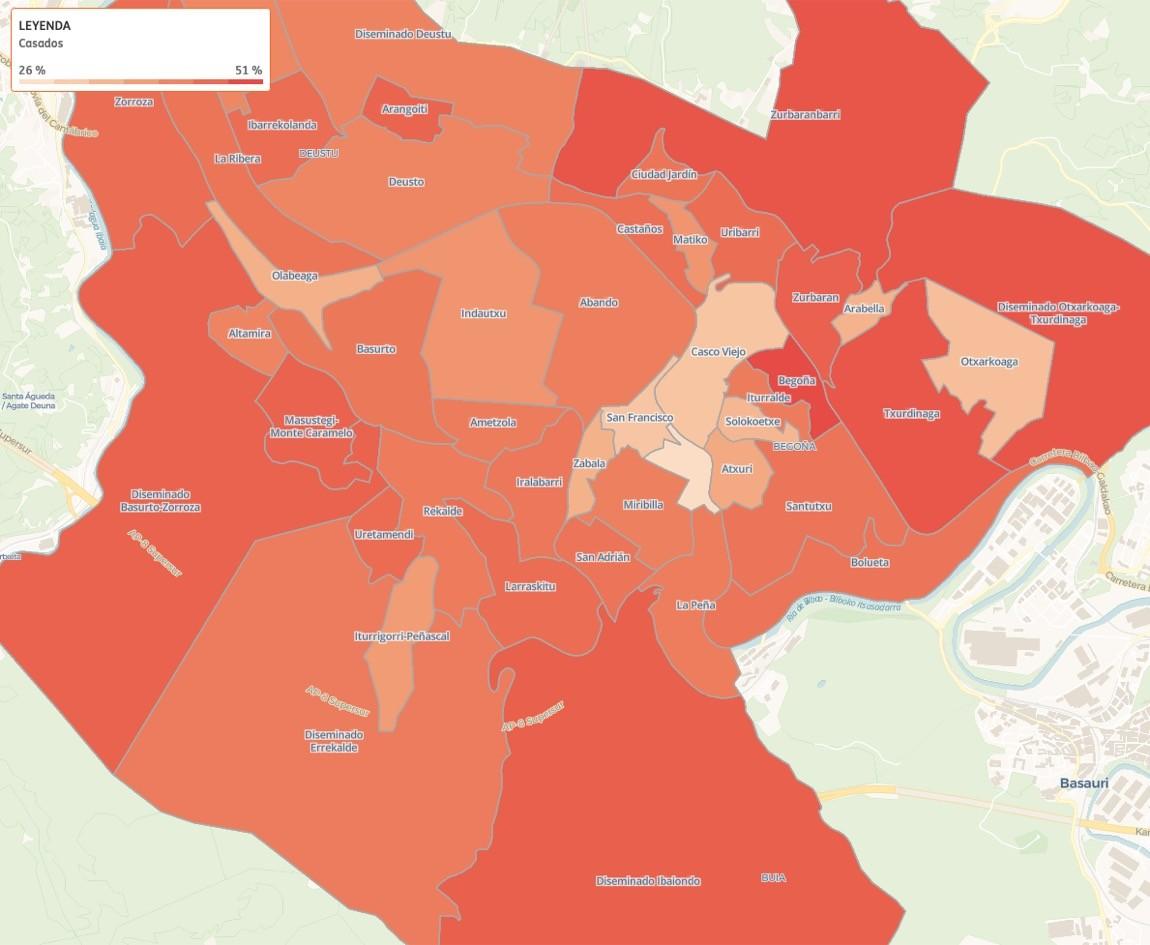 Los barrios de Bilbao con más familias