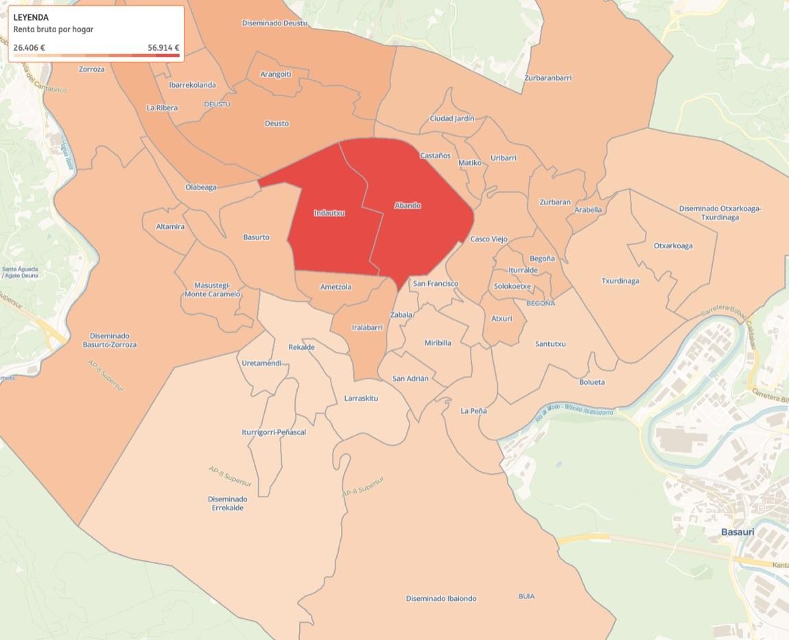 Los barrios de Bilbao con menos renta