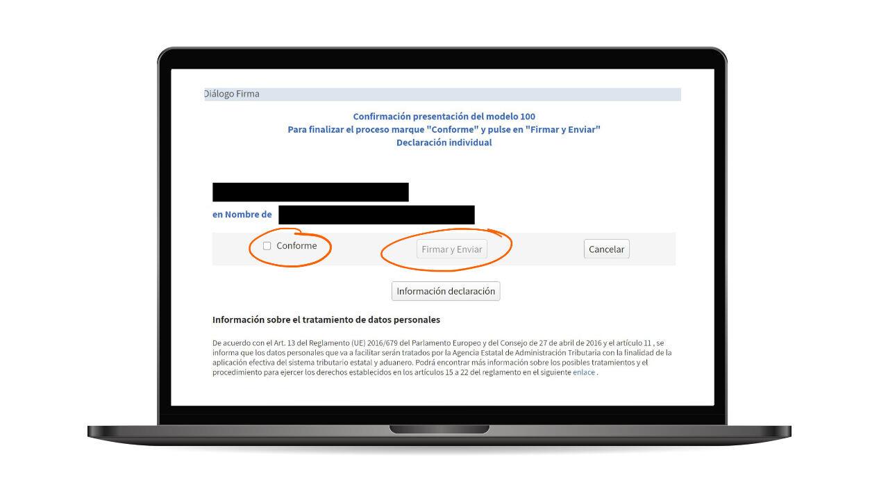 Presentar la renta por internet: paso 5