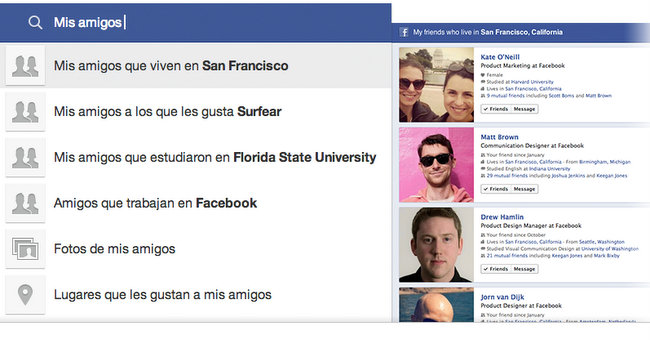 Facebook Graph Search ejemplo