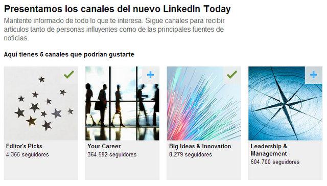 Linkedin Today Contenidos canales
