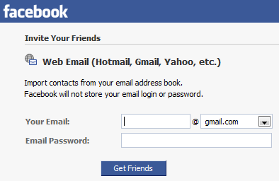 Facebook importando contactos