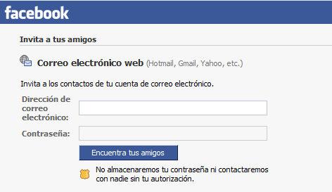 Facebook te pide el correo
