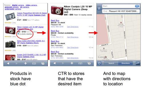 Google en stock cerca en el móvil