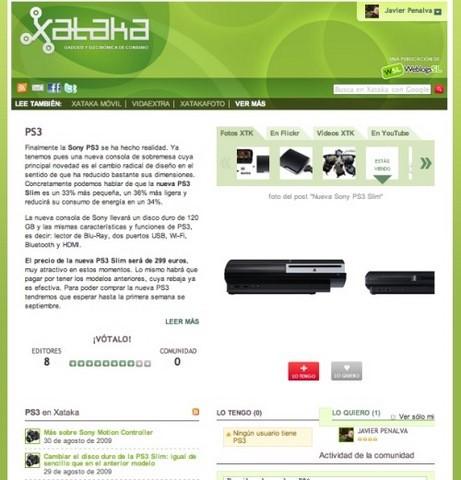 Página de producto PS3 en Xataka