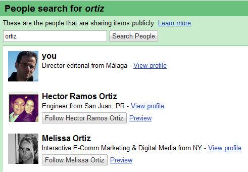 People en el Google Reader