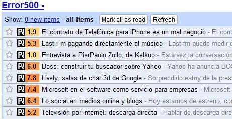 PostRank en Google Reader