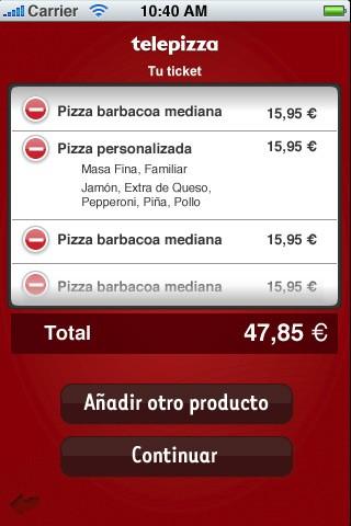 Telepizza en el iPhone