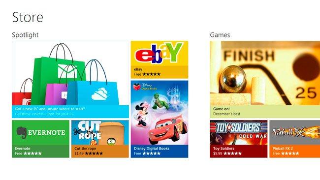 Windows 8 tienda de aplicaciones