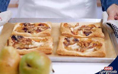 Galette de peras, queso Gorgonzola dulce Igor y nueces, receta sencillísima y resultona