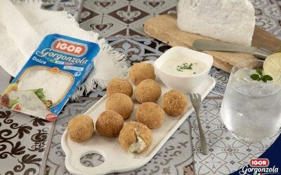 Croquetas de patata con corazón cremoso de queso Gorgonzola Dulce Igor
