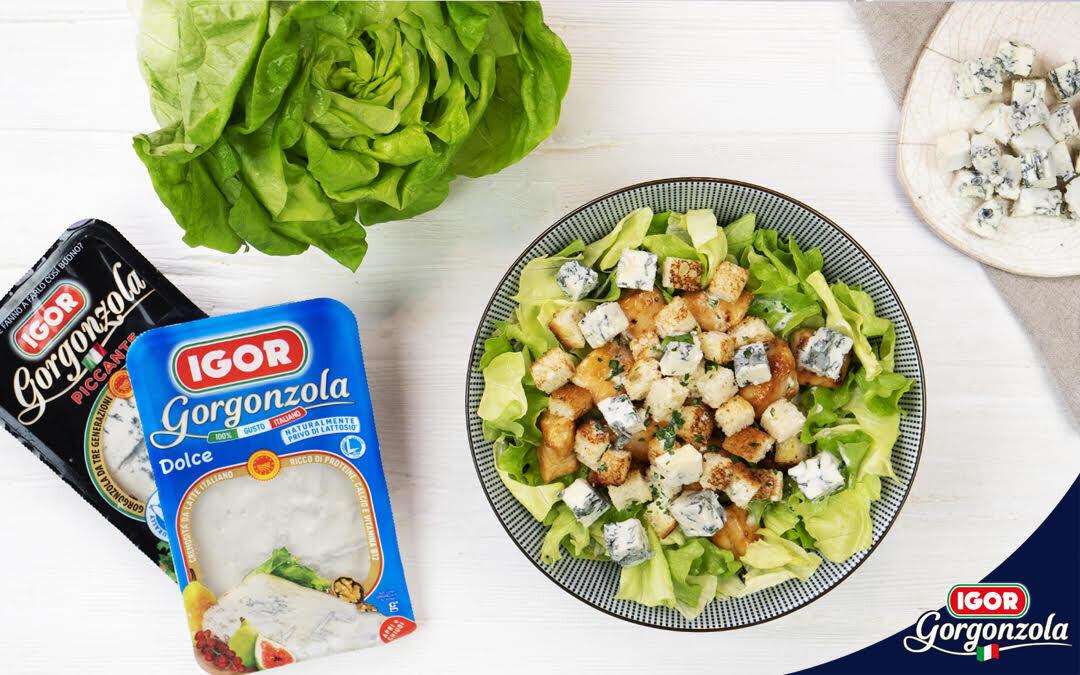 Receta de ensalada César con queso Gorgonzola Dulce y Picante Igor, archiconocida y archisabrosa