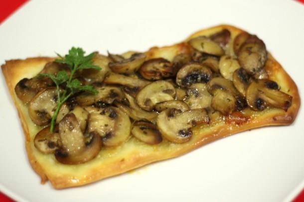 pizza individual sencilla de champiñones