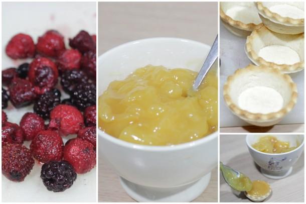 Tartaletas de limón exprés con frutos rojos
