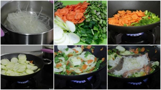 wok de verduras y gambas receta ligera