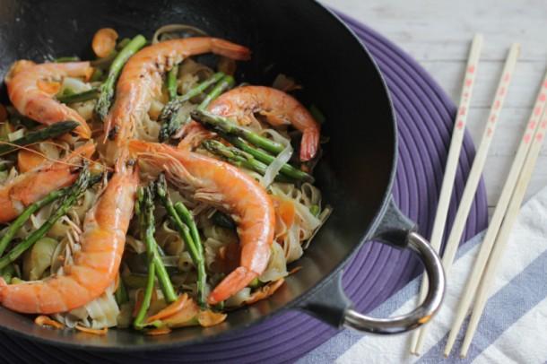 Wok de verduras y gambas receta