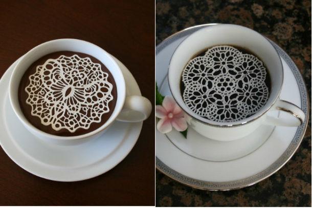 Café con azucarillos de encaje