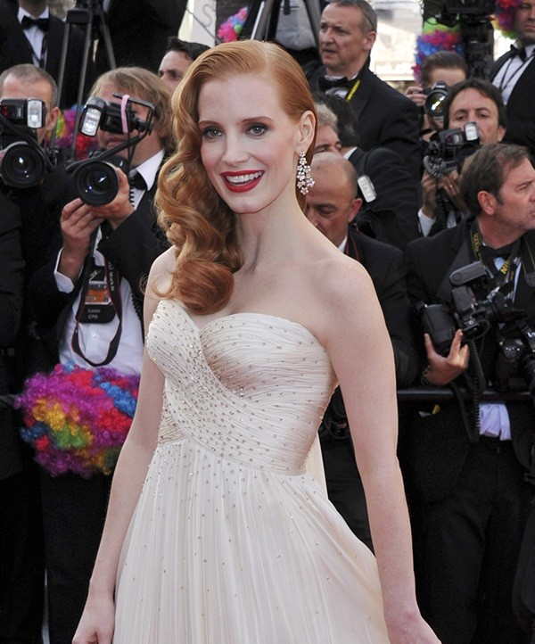 Actress Jessica Chastain during the premiere of 'Madagascar 3' at the 65th Cannes film festival, in Cannes, southern France, on May 18, 2012.