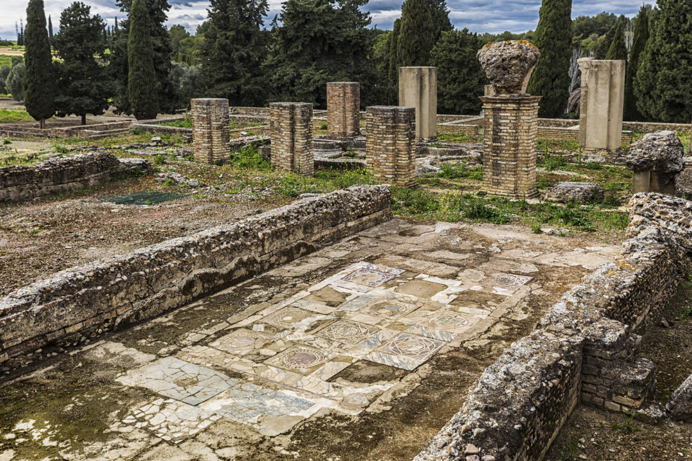 Italica (north of modern day Santiponce, 9 km NW of Seville, Spain) is a magnificent and well-preserved Roman city and the birthplace of Roman Emperors Trajan and Hadrian.
