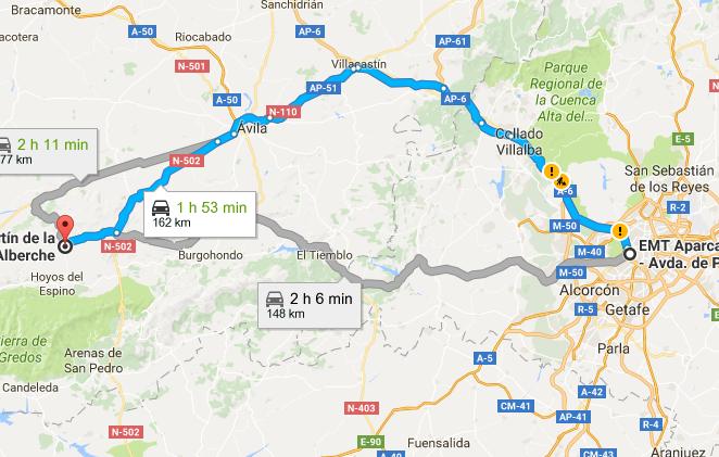 Ruta Madrid a San Martín de la Vega del Alberche