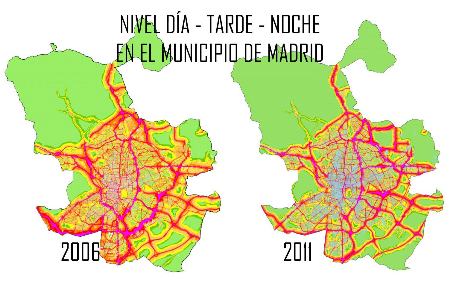 nivel noche tarde dia en el municipio de madrid mapa de ruido