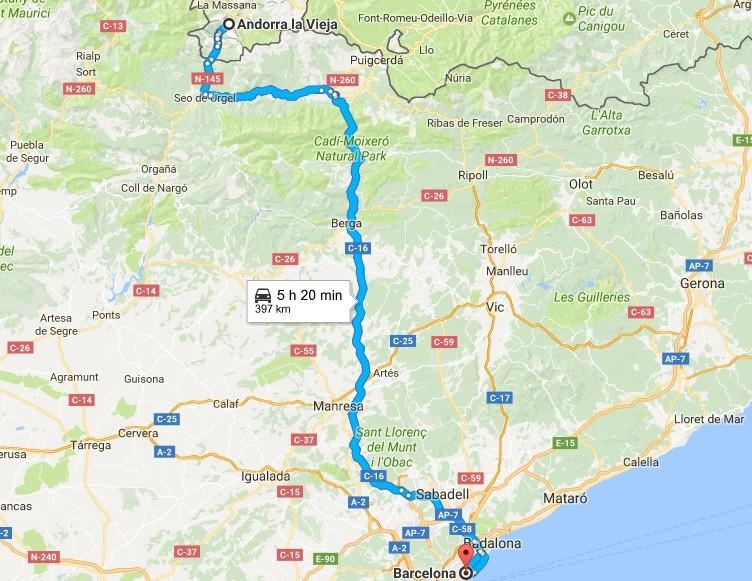 Ruta de Barcelona a Andorra