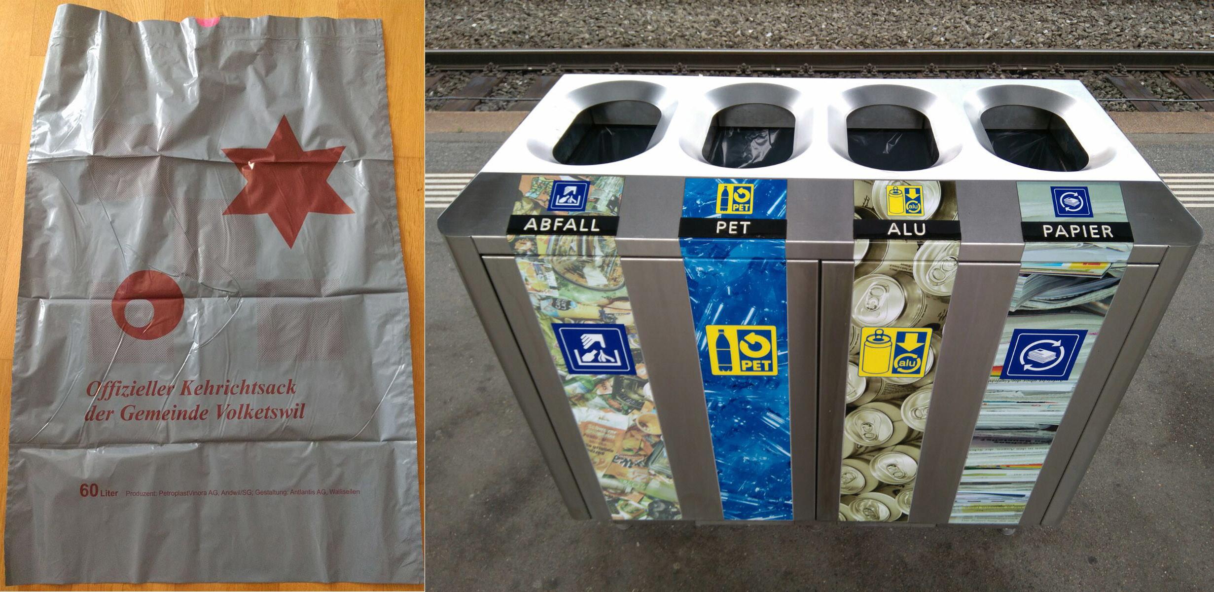Suiza, estaciónde Uster distintas basuras