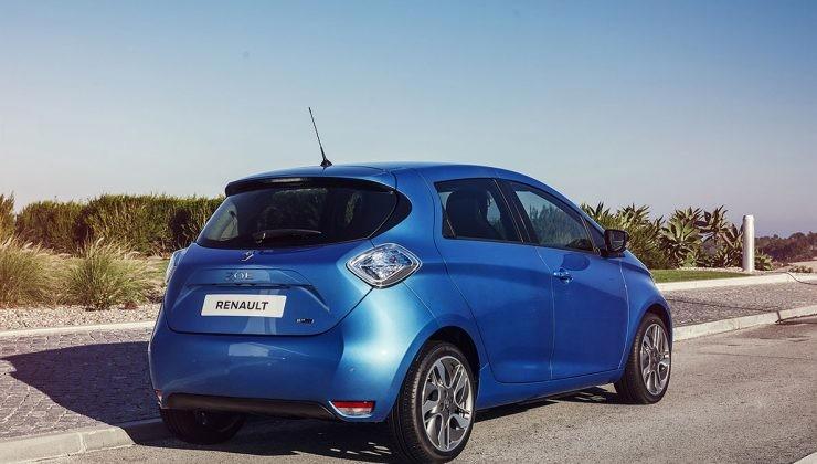 Renault ZOE azul visto desde detrás