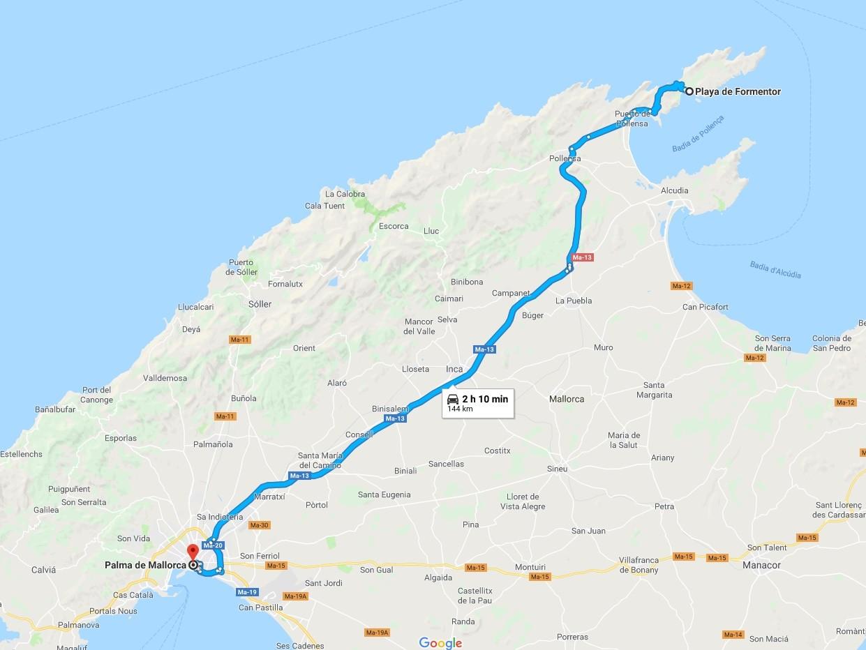 Ruta Palma de Mallorca-Playa Formentor