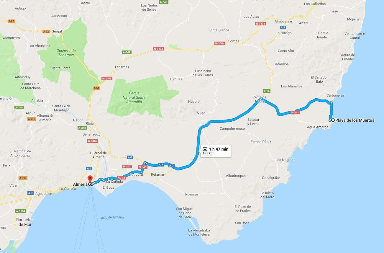 Ruta Almeria-Playa de los muertos
