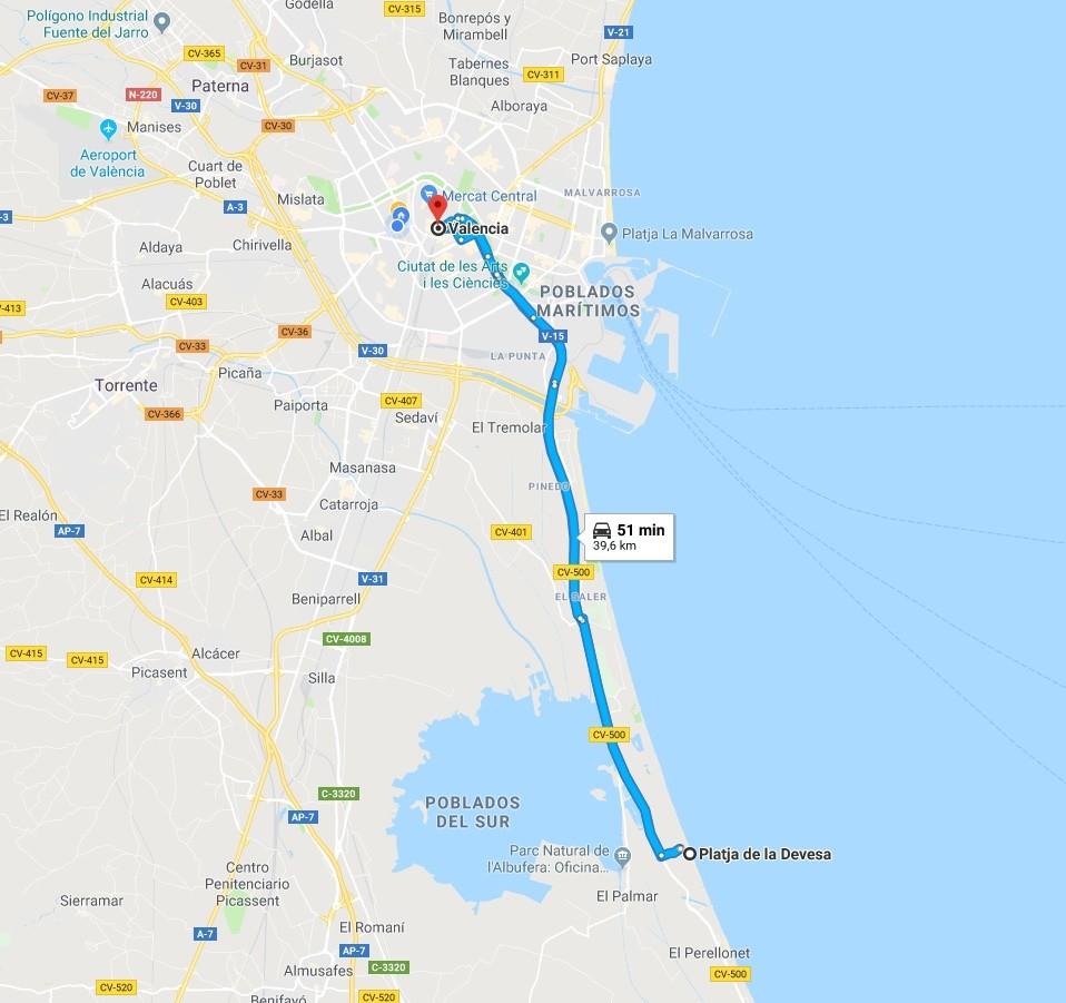 Ruta Valencia-Playa de la Devesa