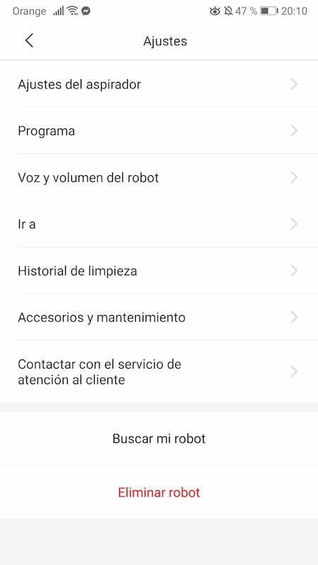 aplicación robot aspirador