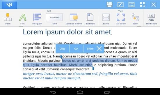 Edición de un documento con tablet