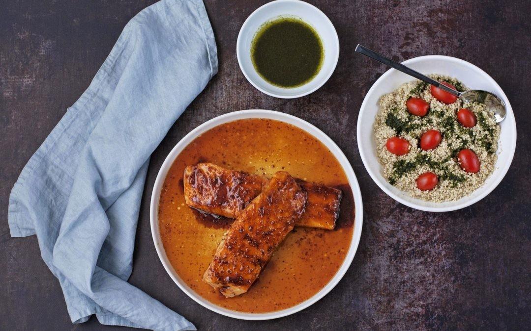 Receta de salmón noruego glaseado al horno con mostaza y jengibre