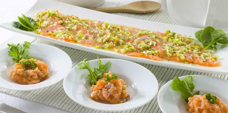 Tartar y ceviche de salmón