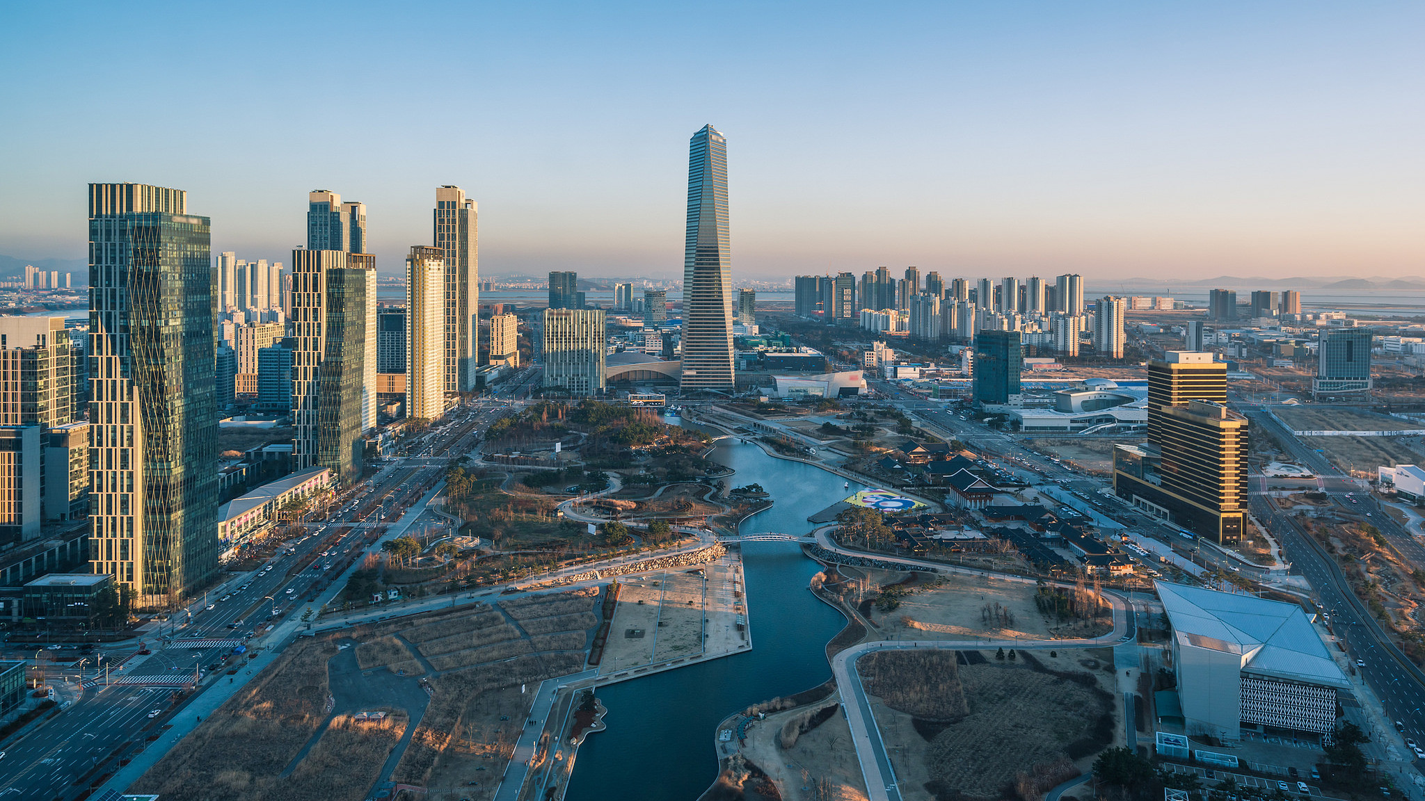 Songdo, en Corea del Sur. Una ciudad de negocios creada desde cero.